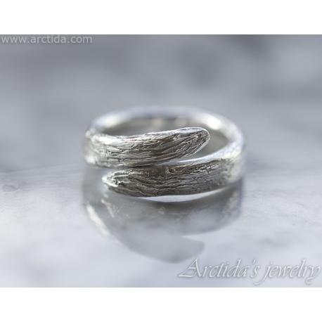 Tree Bark Ring textured band sterling silver 960 - Karya