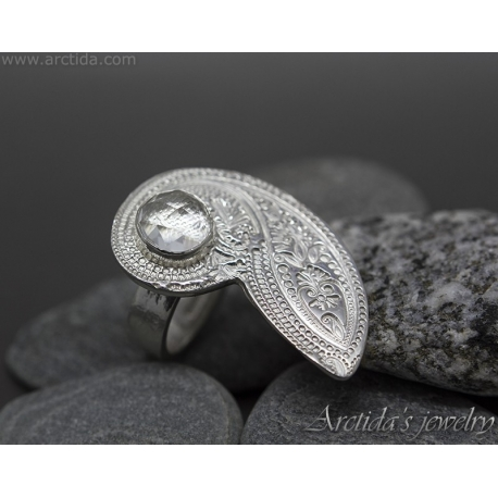 Cocktail Ring Paisley patterned fine silver and Crystal Clear Quartz