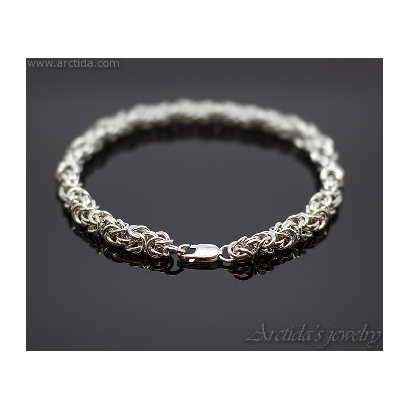 ... Kejsarlänk Kungalänk chainmaille herr armband sterling silver ... 45d14f5fd3ad5