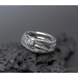 Frost ring - Tree Bark textured band sterling silver 960 with Cubic zirconia