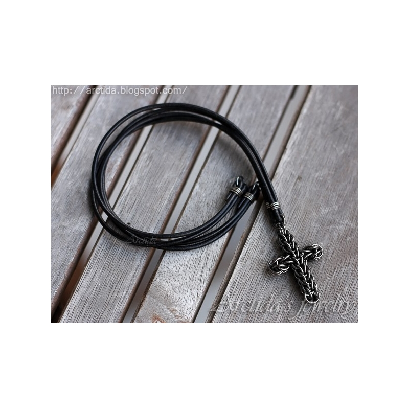 mens necklace chainmaille cross pendant oxidized sterling