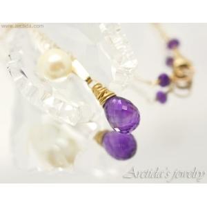 Ametist halsband 14K Gold filled mörk lila hänge - Anya