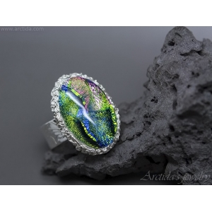 Dichroic glass fine silver cocktail ring