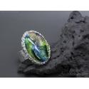 Statement ring Dichroic glass silver ring for women - Aurora Borealis