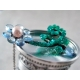 Asymmetric necklace blue Topaz green Agate sterling silver - Fleur Bleue