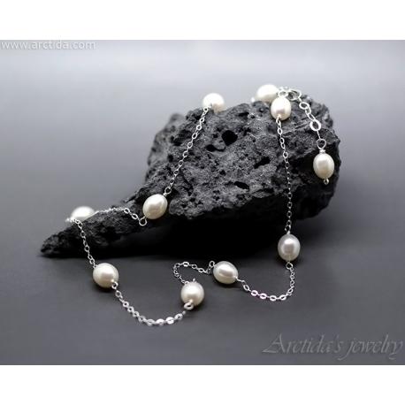 Vita pärlor sterling silver halsband pärlhalsband - Celia