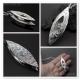 Shadow box pendant fine silver cubic zirconia - Khione