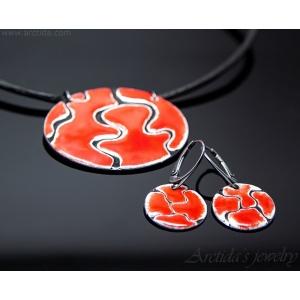 Emaljerade örhängen emaljerad halsband svart vit röd set