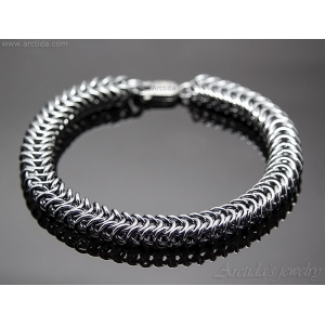Chainmaille mens bracelet oxidized sterling silver - Prometheus