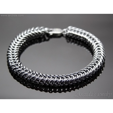 15b9697e83ddd Chainmaille mens bracelet oxidized sterling silver - Prometheus View larger