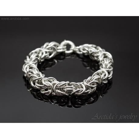 Kejsarlänk Kungalänk chainmaille herr armband sterling silver ... 3b17d256cfa9d