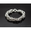 Byzantine chainmaille mens bracelet sterling silver