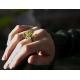 Prasiolite Peridot gemstone flower ring wire wrapped sterling silver ring