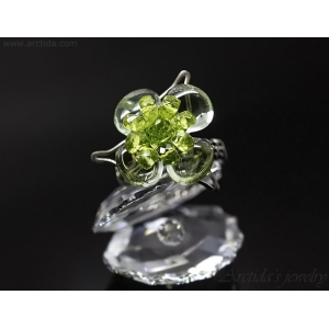 Prasiolite Peridot gemstone flower ring wire wrapped sterling silver ring