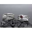 Twig ring Sterling silver Garnet ring Tree bark textured statement ring