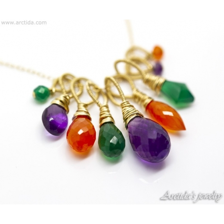 Amethyst Carnelian green Agate gold necklace Colorful gemstone cluster pendant - Lucinda