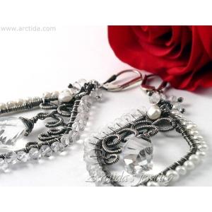 Bridal earrings Rock Crystal Clear Quartz Pearls earrings - Neda