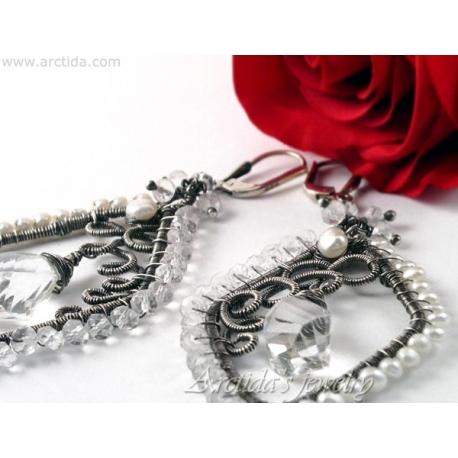 Bergkristall och pärlörhängen brud örhängen - Neda