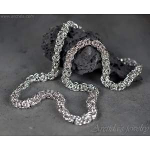 Mens necklace Silver necklace for men Byzantine chainmaille necklace Mens sterling silver chain Heavy mens jewelry