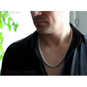 Kejsarlänk Kungalänk Chainmaille halsband sterling silver