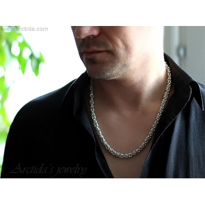 Mens necklace Byzantine chainmaille necklace sterling silver