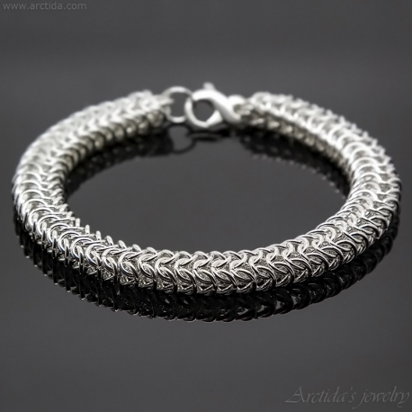 Roundmaille Chainmaille herr armband sterling silver
