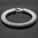 Mens bracelet Roundmaille chainmaille bracelet sterling silver