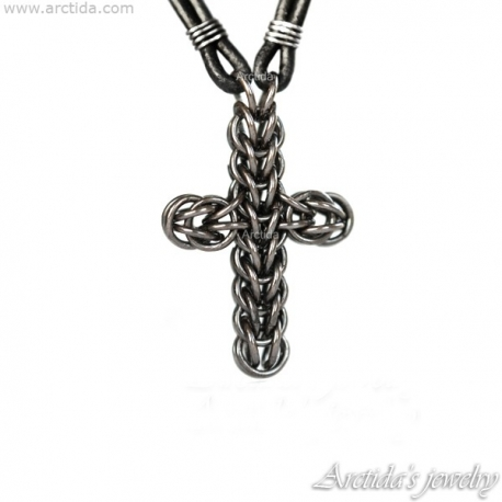 Mens necklace Chainmaille cross pendant oxidized sterling silver