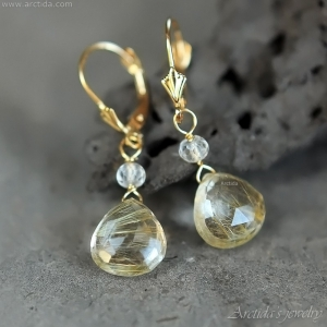 Golden Rutilated Quartz earrings 14K solid gold - Venus Hair