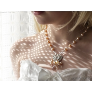 Pearl bridal necklace Peach and Pink pearl necklace with Rock Crystal Clear Quartz - Lemai