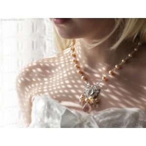Pärlhalsband Silverhalsband Bergkristall rosa pärlor finsilver hänge - Lemai