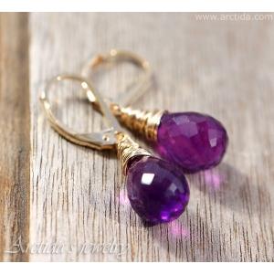 Amethyst earrings gold earrings Purple earrings Amethyst 14K gold filled - Anya