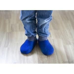 Handgjorda tovade ulltofflor för barn 100% merinoull Blå barntofflor