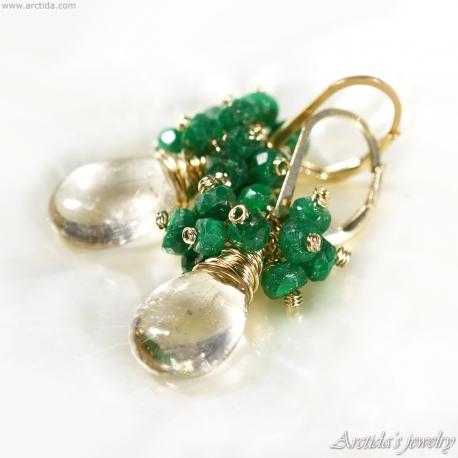 Golden Rutilated Quartz Emerald earrings gold filled - Alanna