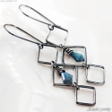 Labradorite earrings Gothic jewelry long Gothic earring Black oxidized sterling silver - Asteria