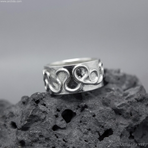 Celtic ring Argentium sterling silver wide ring band