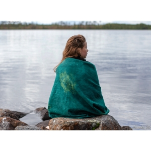 Nuno felted shawl Emerald green silk and merino wool shawl wrap Fiber art accessories