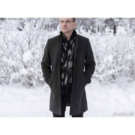 Mens scarf Merino wool scarf for men Black and white felt scarf