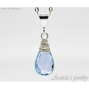 Blue Topaz necklace wire wrapped sterling silver - Nimue