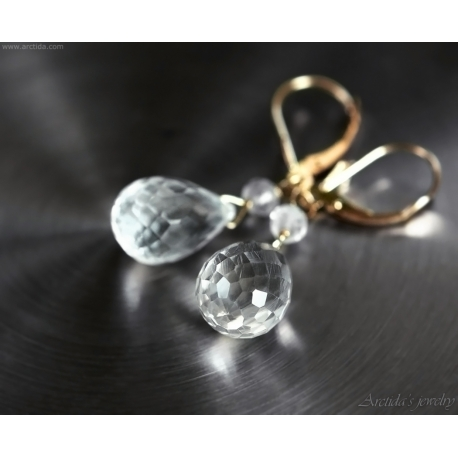 Rock Crystal Clear Quartz earrings 14K solid gold - Pruina